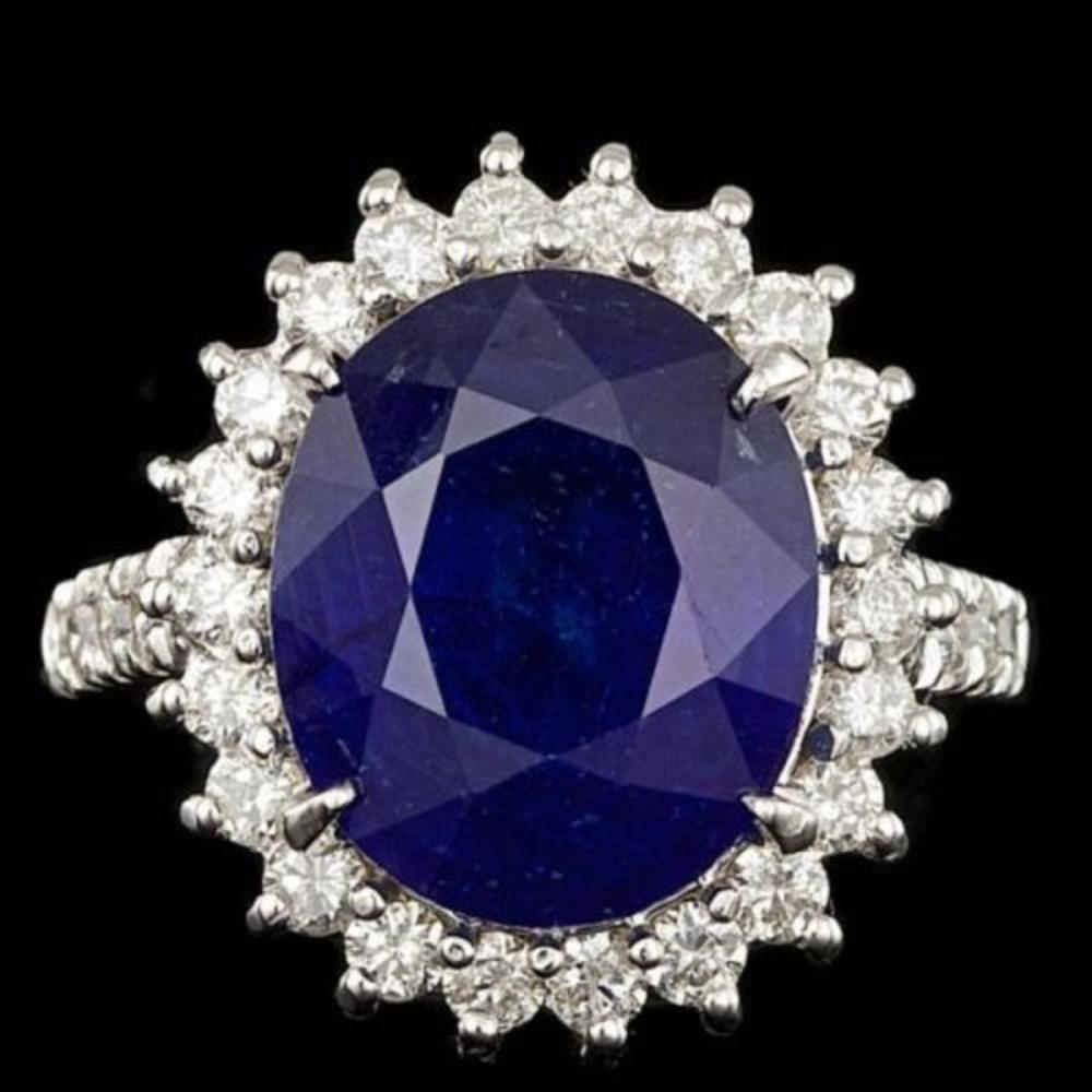 14K White Gold 9.07ct Sapphire and 1.13ct Diamond Ring