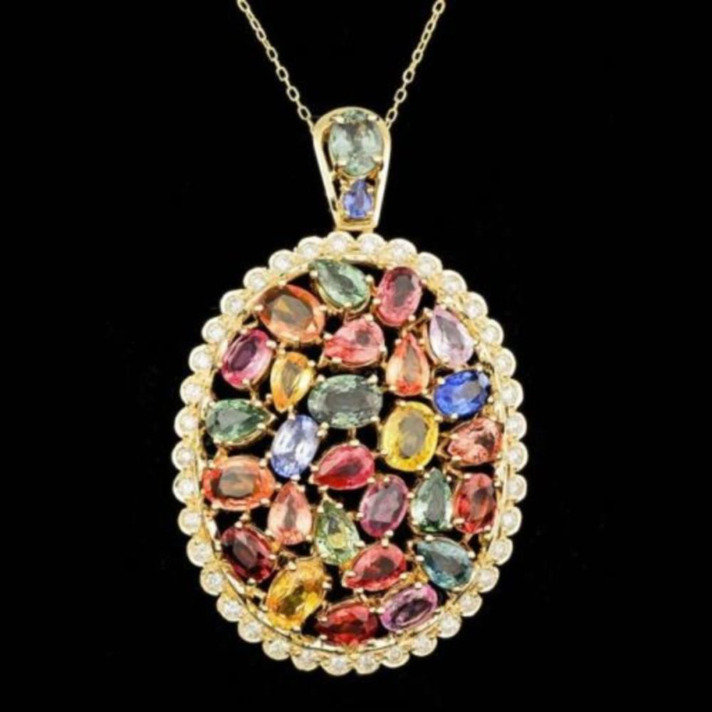 14K Gold 17.38ct Sapphire 1.03ct Diamond Pendant