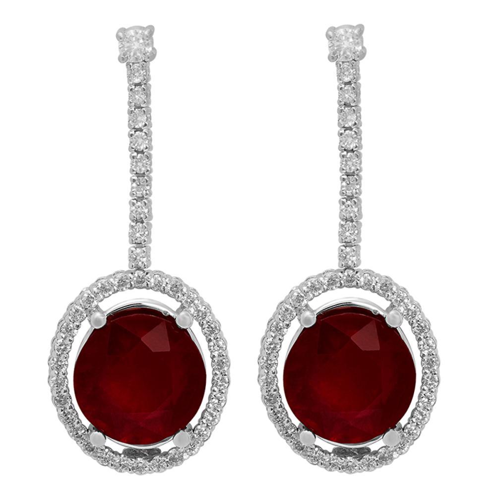 14k White Gold 9.80ct Ruby 0.76ct Diamond Earrings