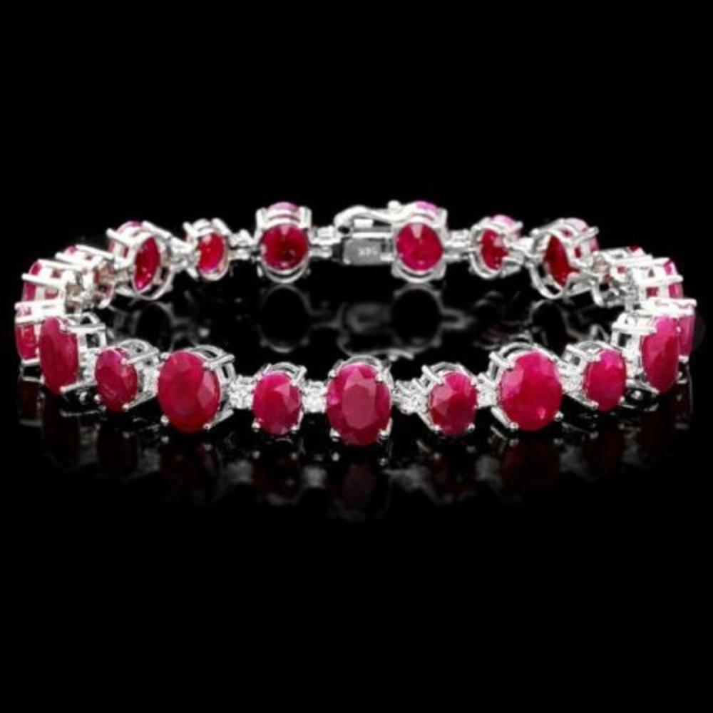 14K Gold 40.13ct Ruby 1.49ct Diamond Bracelet