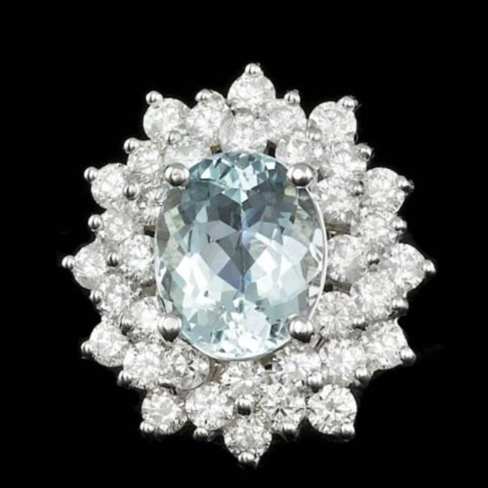 14K White Gold 2.69ct Aquamarine and 2.39ct Diamond Ring