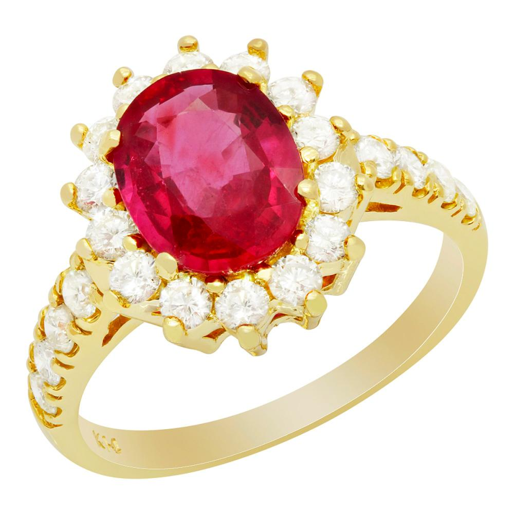 14k Yellow Gold 2.17ct Ruby 0.91ct Diamond Ring