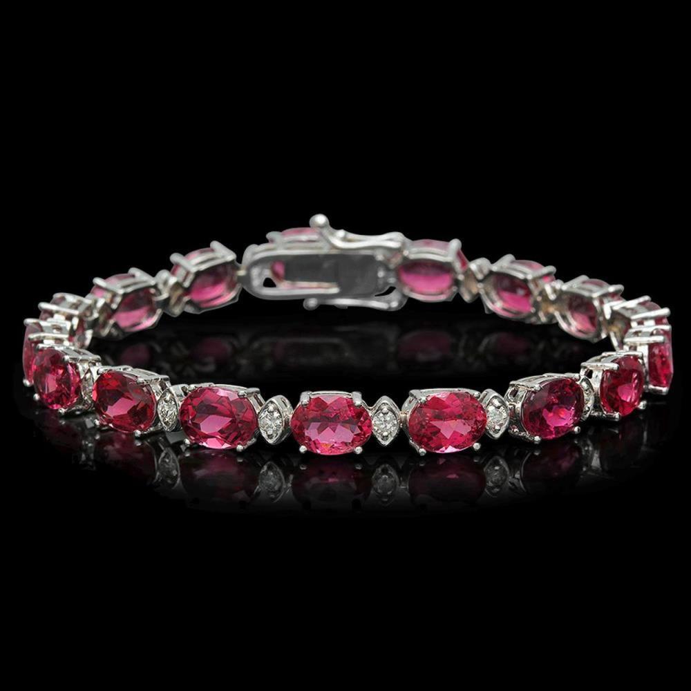 14K Gold 22.77ct Tourmaline 1.04ct Diamond Bracelet