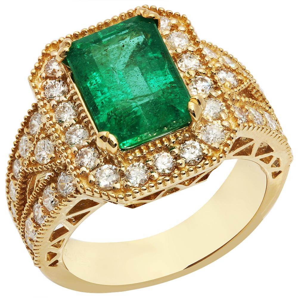 14k Yellow Gold 2.93ct Emerald 1.29ct Diamond Ring