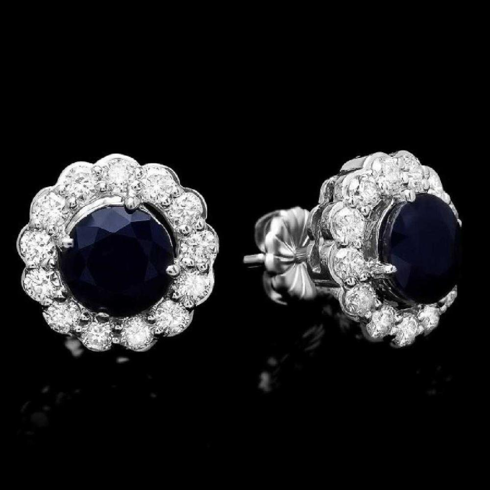 14K White Gold 3.56ct Sapphire and 1.58ct Diamond Earrings