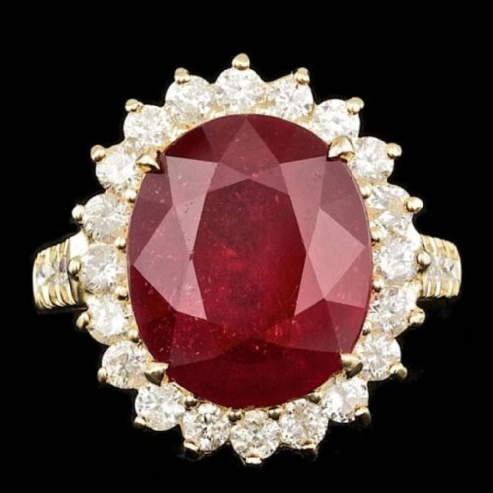 14K Yellow Gold 9.85ct Ruby and 1.34ct Diamond Ring