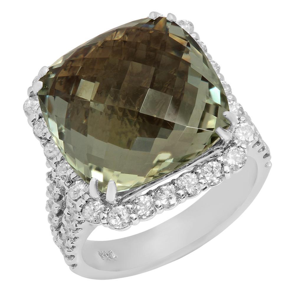 14k White Gold 11.55ct Green Beryl 1.46ct Diamond Ring