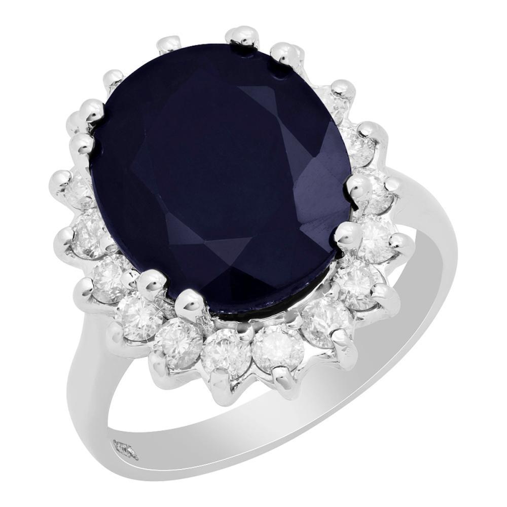 14k White Gold 8.02ct Sapphire 0.92ct Diamond Ring