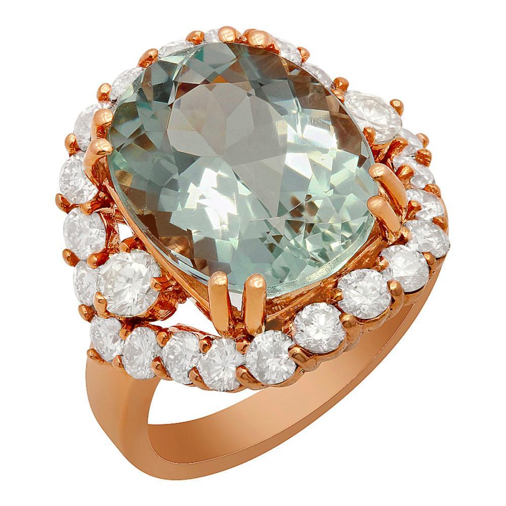 14k Rose Gold 7.94ct Aquamarine 2.07ct Diamond Ring