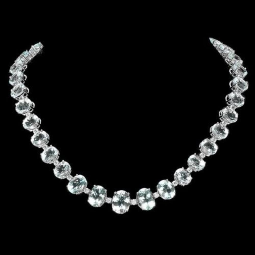 14K White Gold 97.13ct Aquamarine and 1.40ct Diamond Necklace