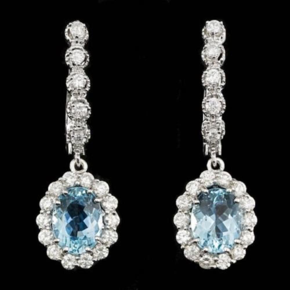 14k 3.27ct Aquamarine 1.31ct Diamond Earrings