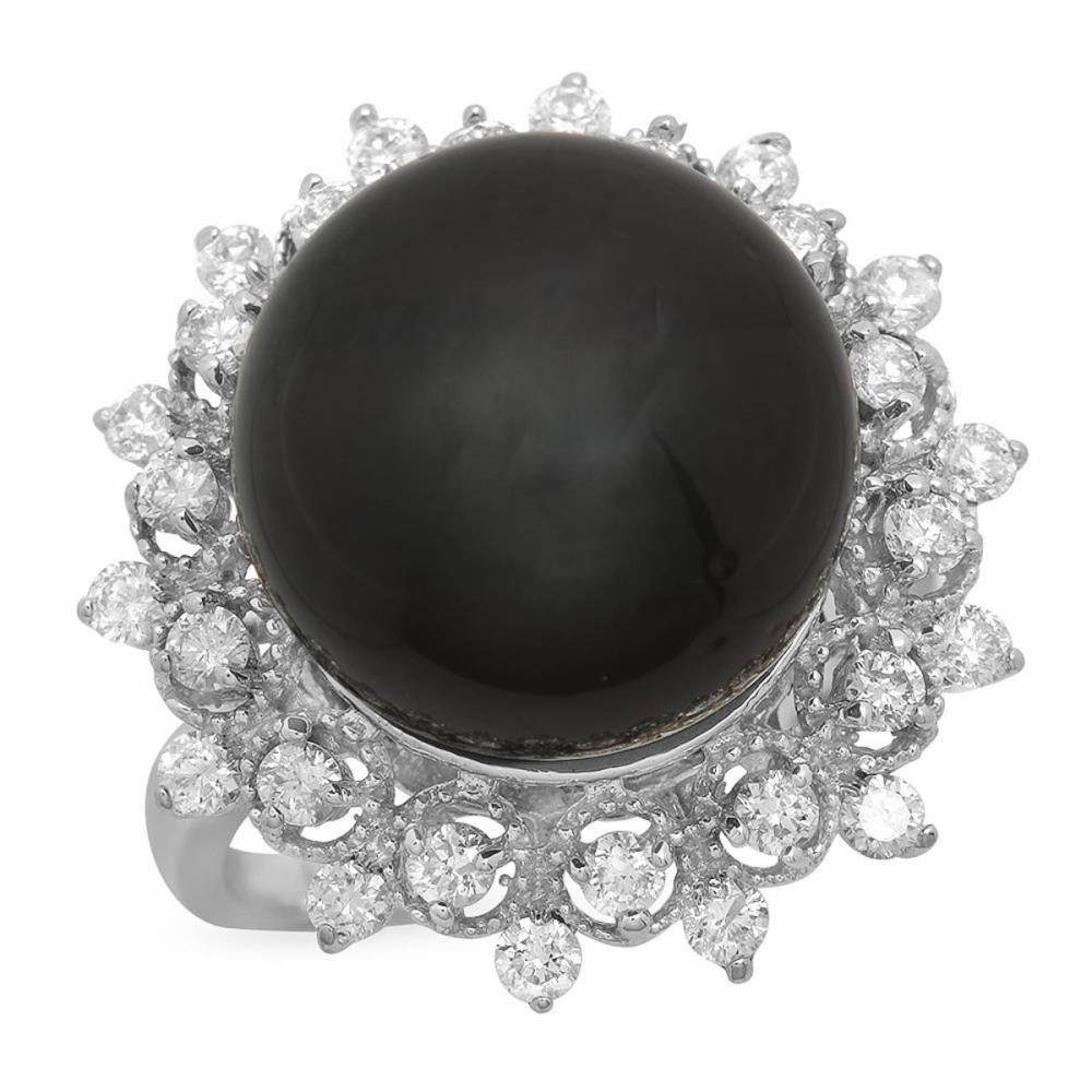 14K White Gold 14mm Black Tahitian Pearl and 0.78ct Diamond Ring
