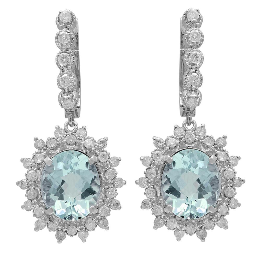 14k White Gold 6.41ct Aquamarine 1.58ct Diamond Earrings