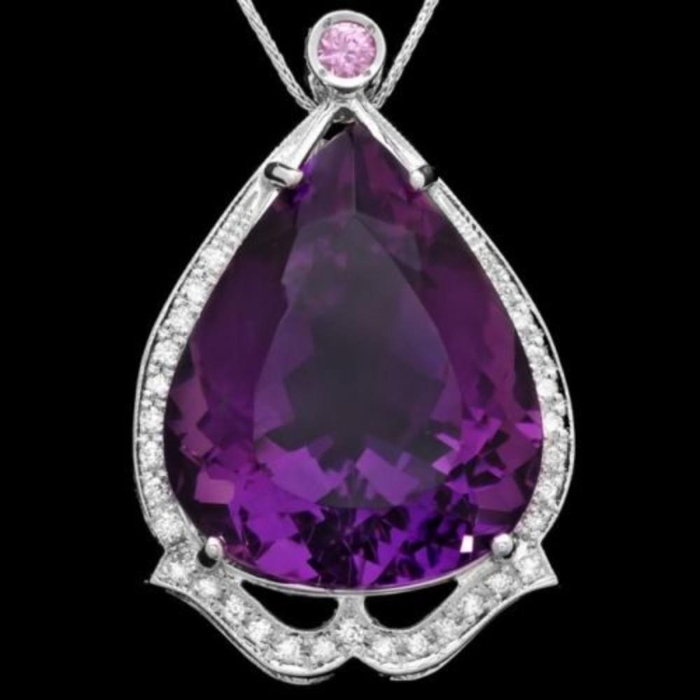 14K Gold 49.11ct Amethyst 0.24ct Pink Sapphire 0.42ct Diamond Pendant