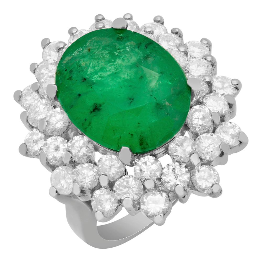 14k White Gold 4.09ct Emerald 2.38ct Diamond Ring