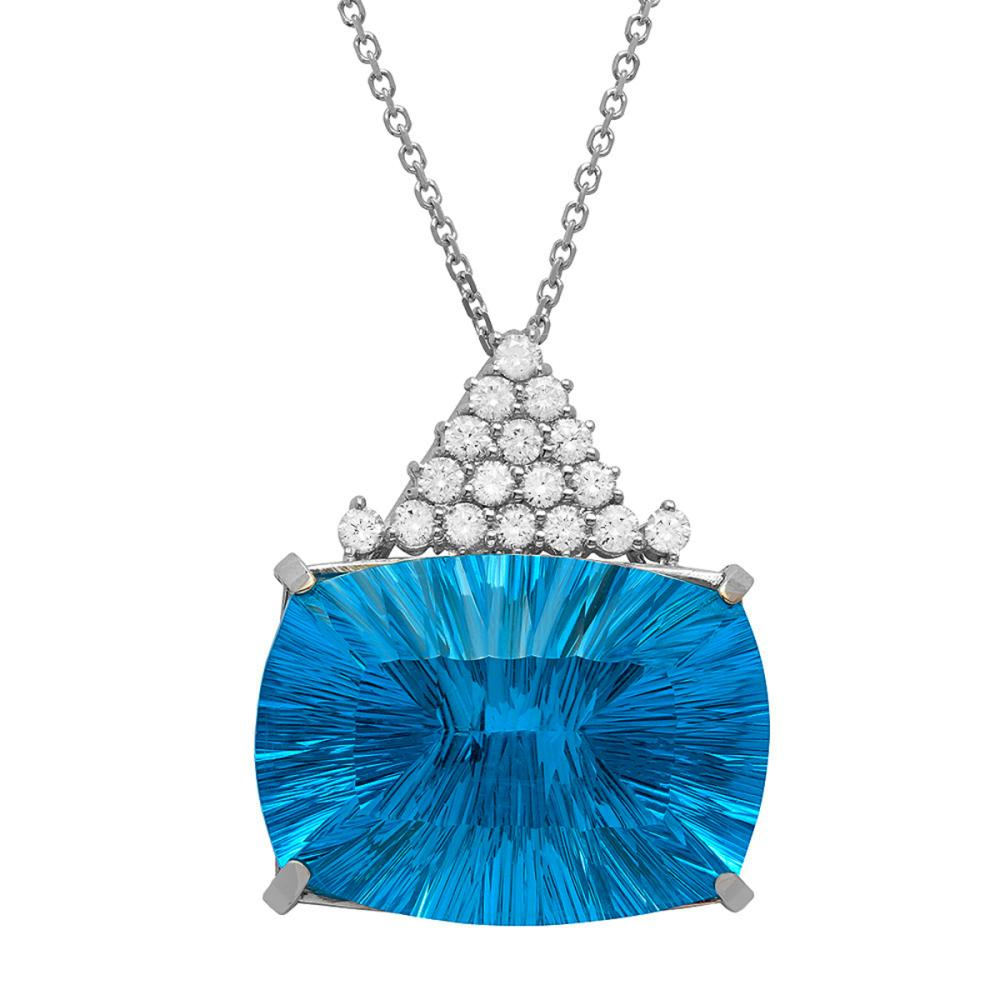 14k White Gold 36.00ct Blue Topaz 1.20ct Diamond Pendant