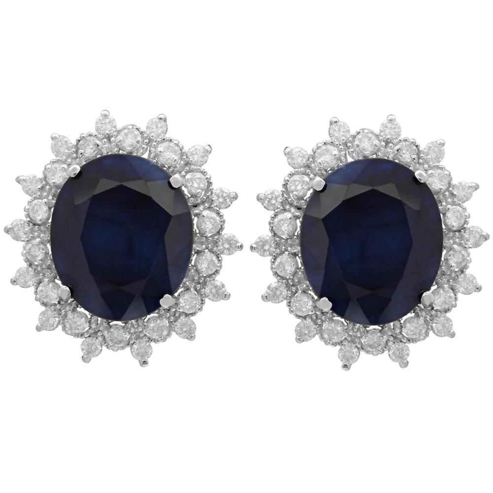14k White Gold 18.41ct Sapphire 1.36ct Diamond Earrings