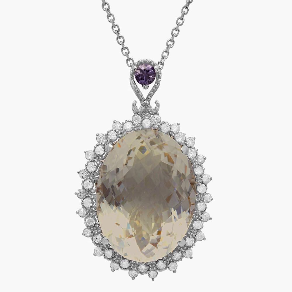 14k White Gold 29.06ct Quartz 0.28ct Pink Sapphire 1.25ct Diamond Pendant