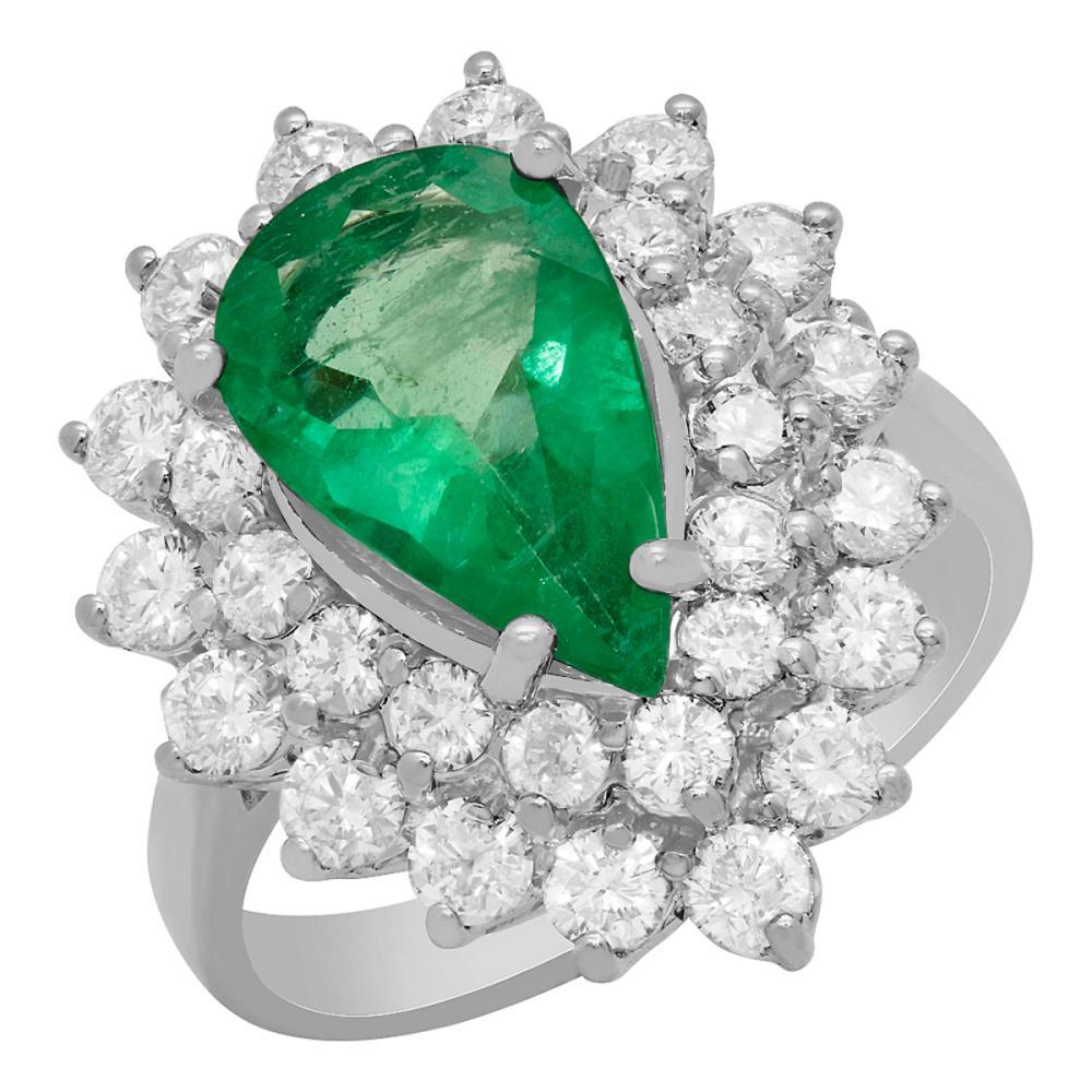 14k White Gold 2.10ct Emerald 1.69ct Diamond Ring