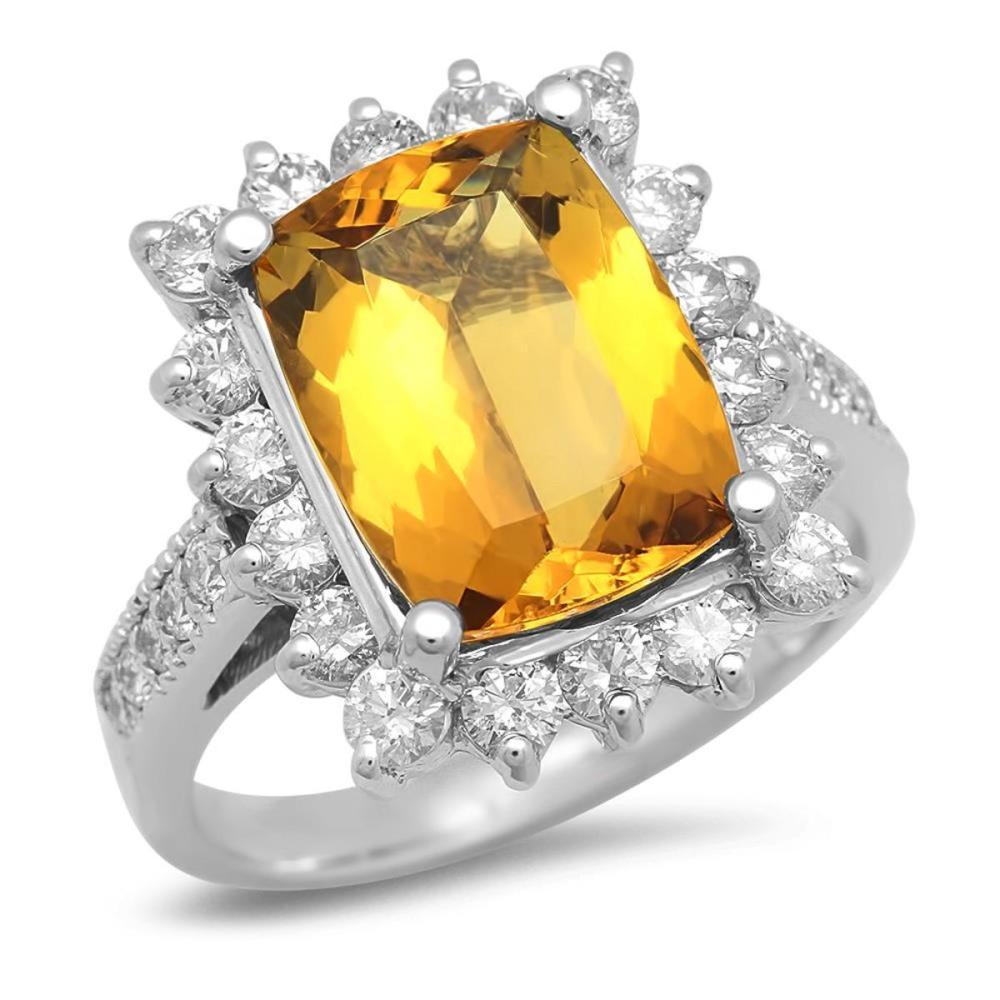 14K White Gold 4.11ct Beryl and 1.17ct Diamond Ring