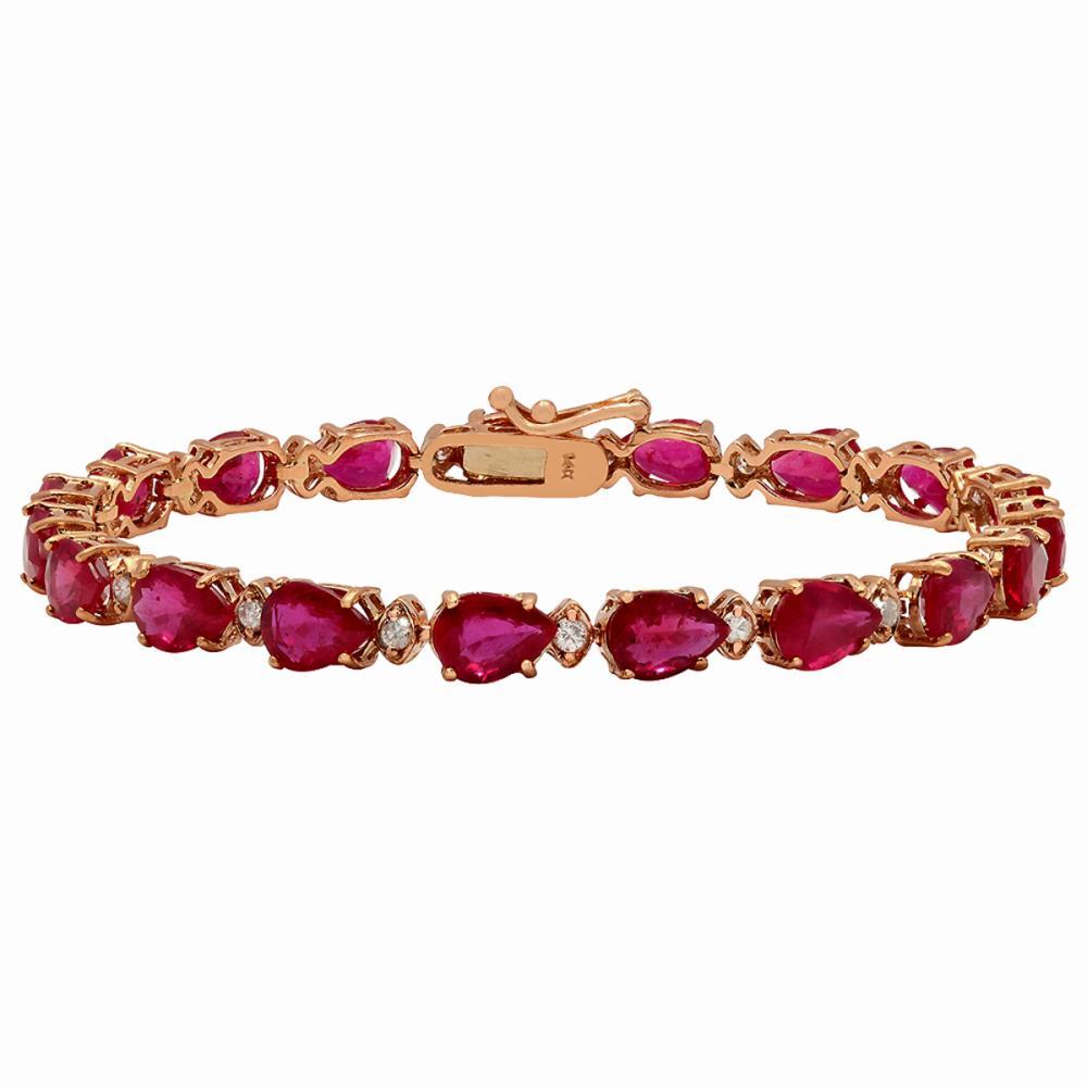 14k Yellow Gold 17.41ct Ruby 0.62ct Diamond Bracelet