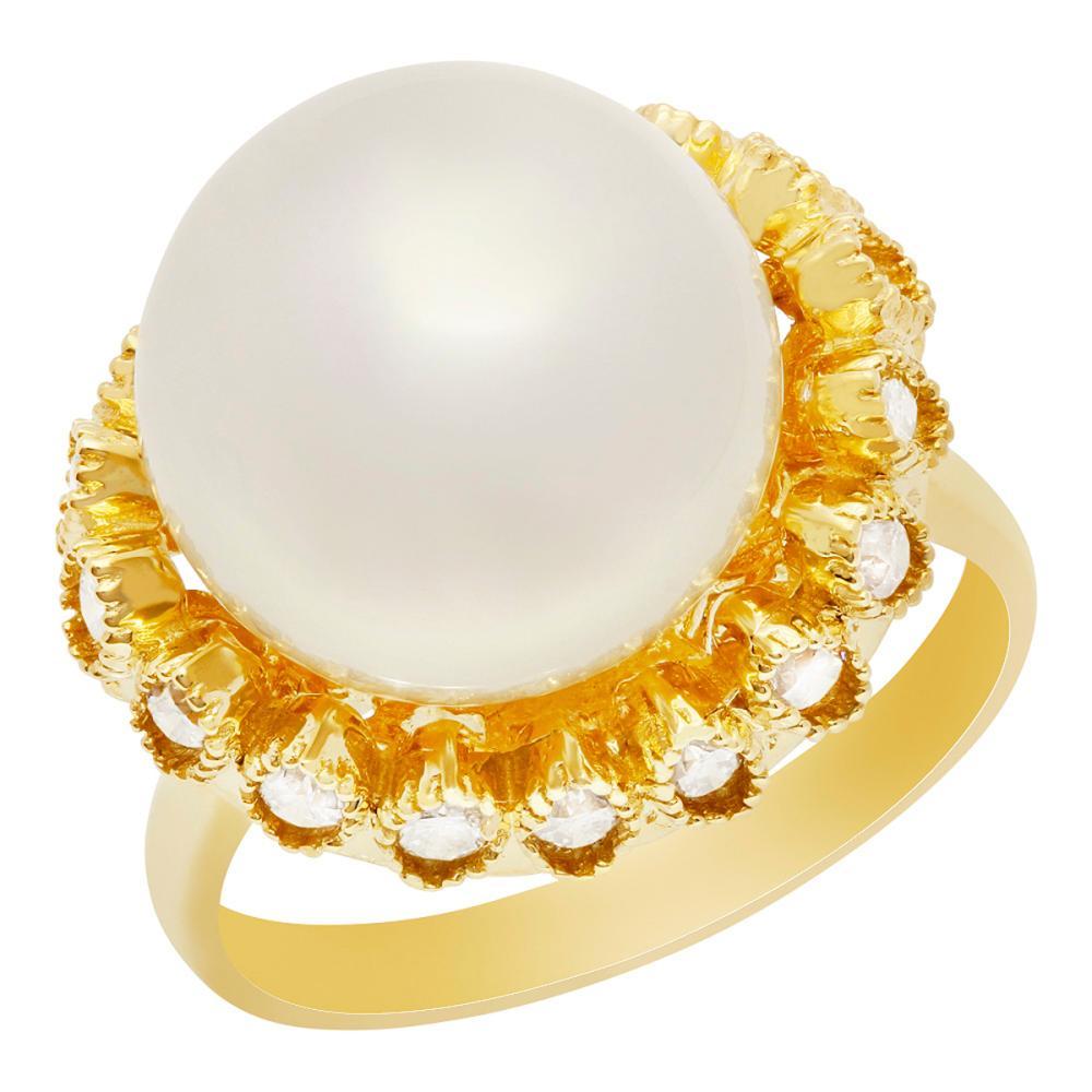14k Yellow Gold 13mm Pearl 0.65ct Diamond Ring