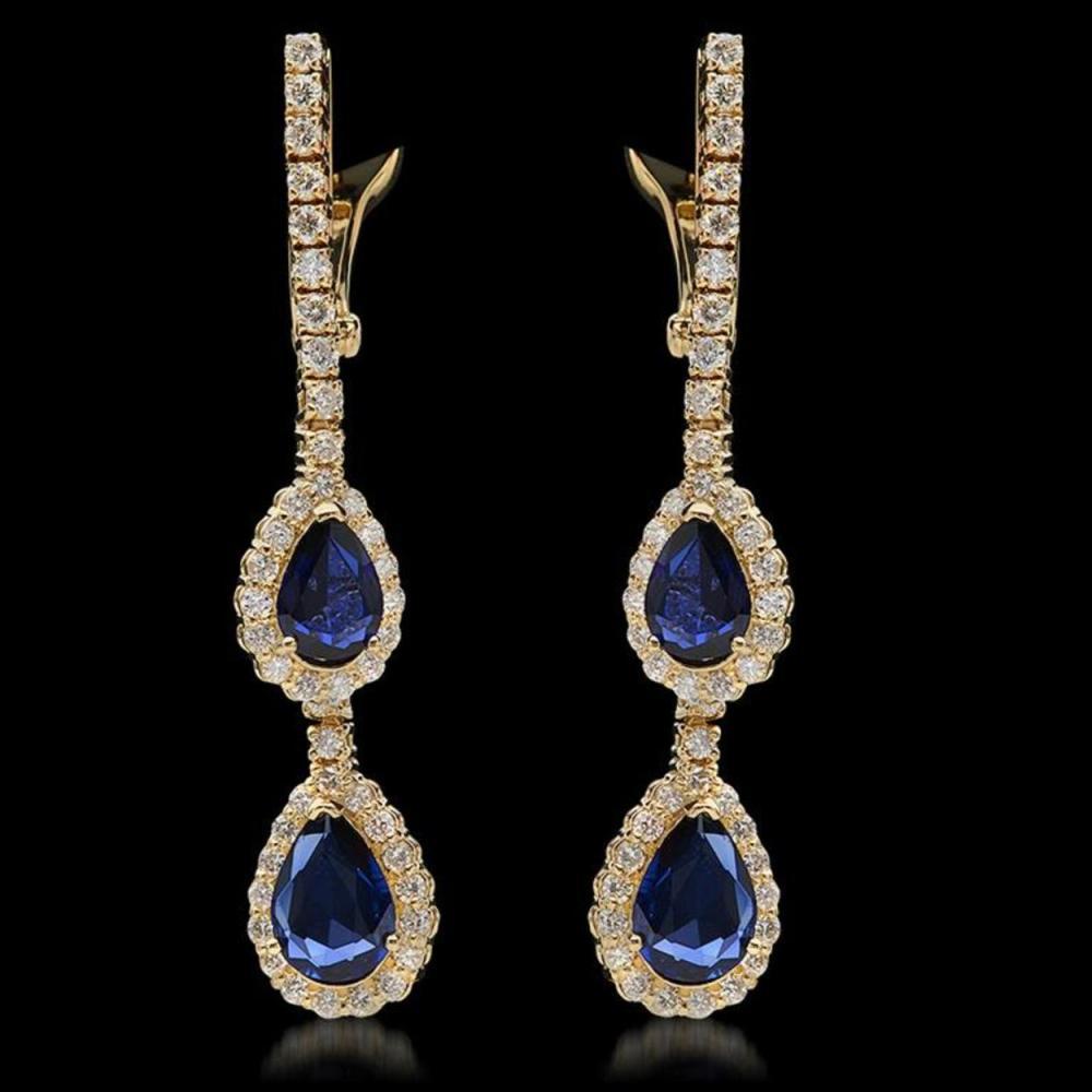 14K Gold 2.79ct Sapphire & 1.68ct Diamond Earrings