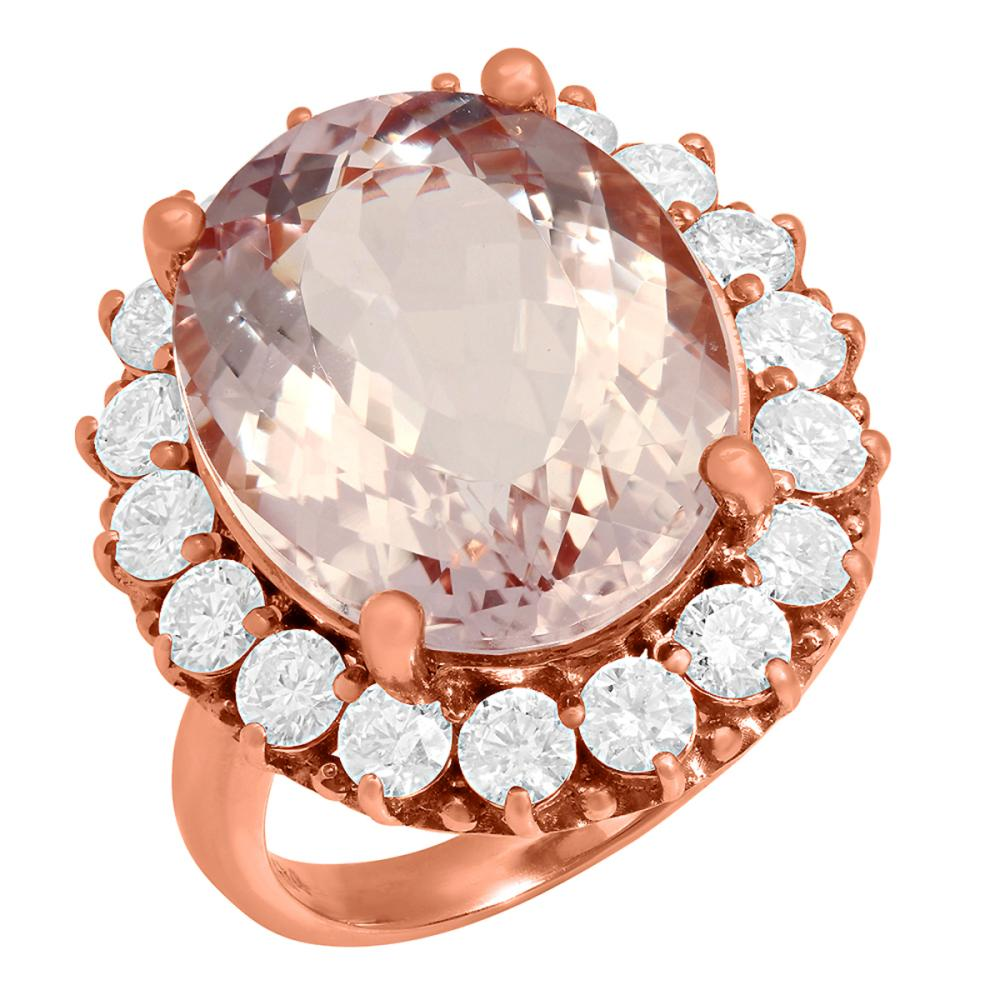 14k Rose Gold 13.09ct Kunzite 2.23ct Diamond Ring