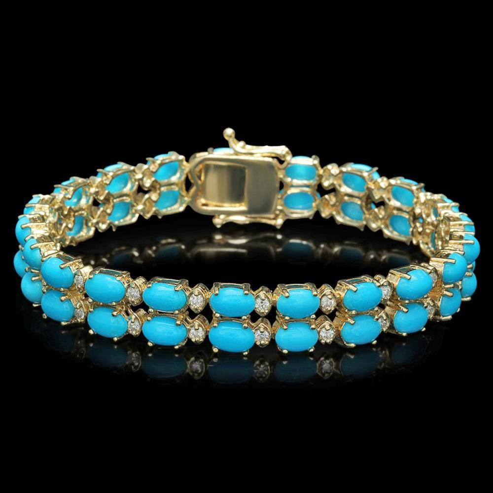 14K Gold 16.59ct Turqoise 1.22ct Diamond Bracelet