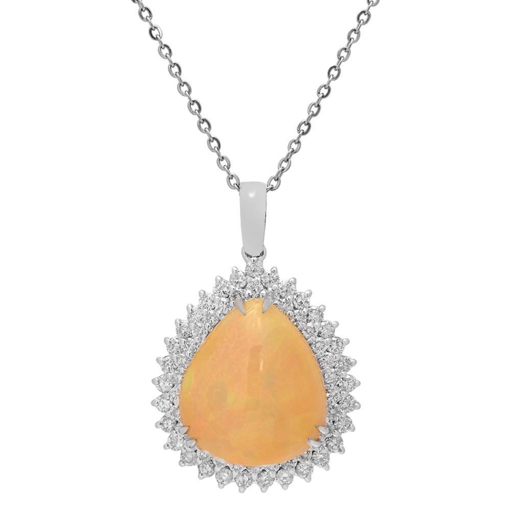 14k White Gold 14.65ct Opal 2.31ct Diamond Pendant