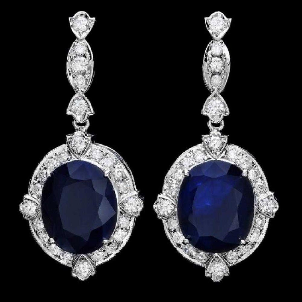 14K White Gold 17.72ct Sapphire and 1.46ct Diamond Earrings