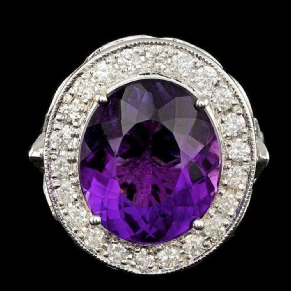 14K White God 7.19ct Amethyst and 1.86ct Diamond Ring