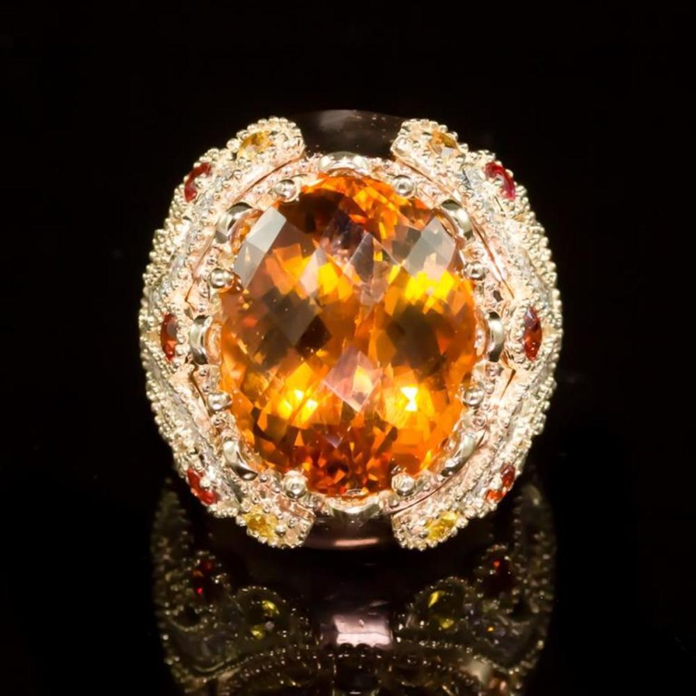 14K Rose Gold 17.89ct Citrine 1.42ct Sapphire and 1.21ct Diamond Ring