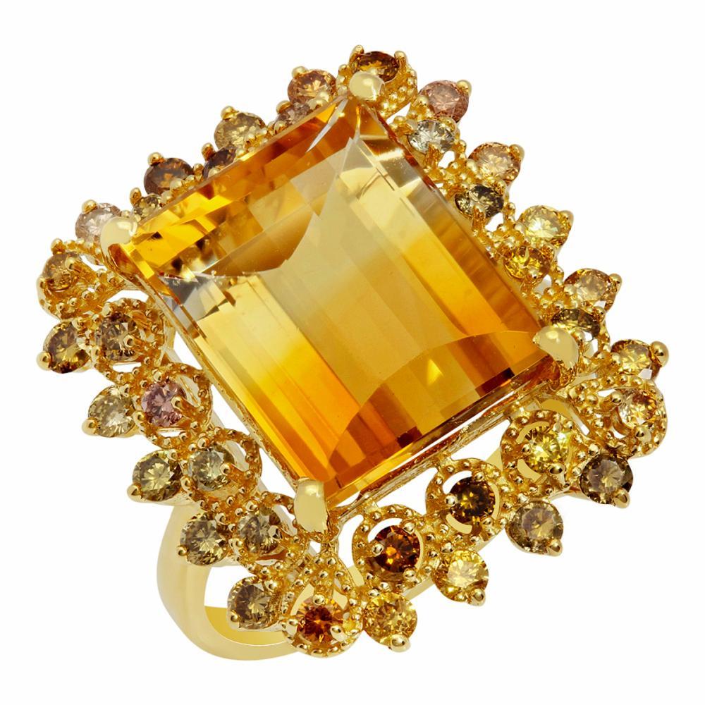 14k Yellow Gold 9.22ct Citrine 1.01ct Diamond Ring