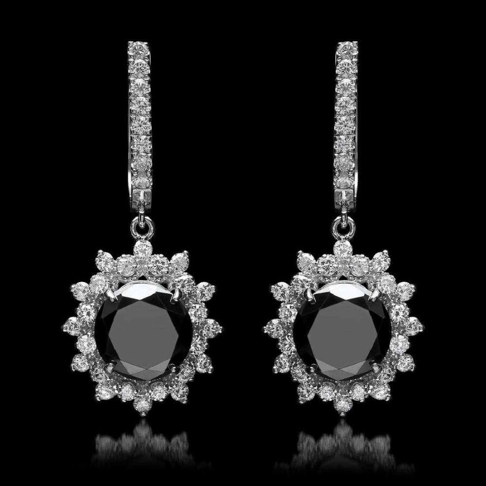 14K White Gold 7.50ct Black Diamond and 1.38ct Diamond Earrings