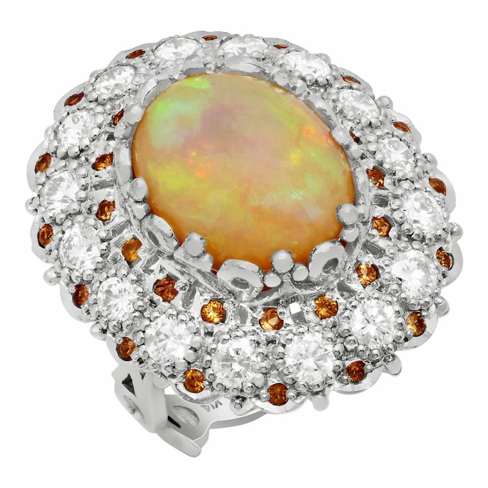 14k White Gold 7.09ct White Opal 0.48ct Orange Sapphire 2.21ct Diamond Ring