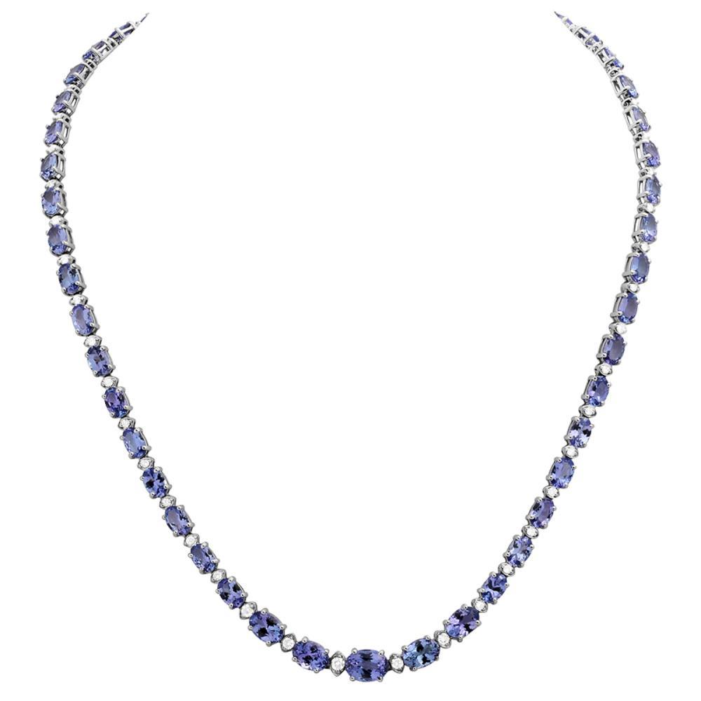 14k White Gold 23.93ct Tanzanite 1.14ct Diamond Necklace