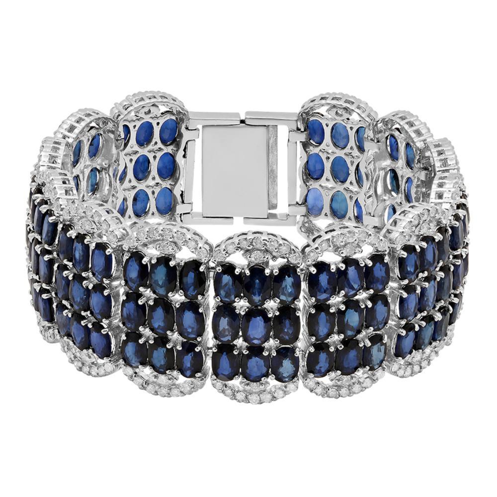 14k White Gold 65.60ct Sapphire 4.16ct Diamond Bracelet