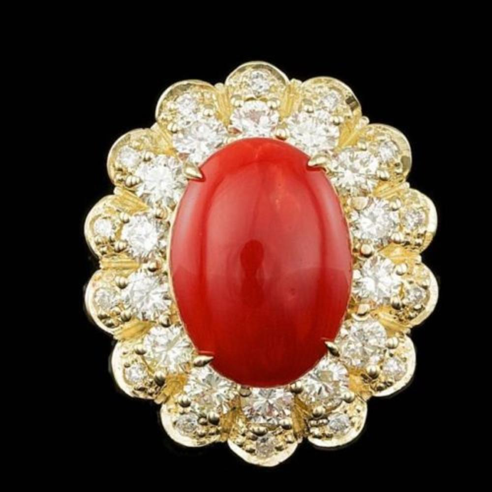 14K Yellow Gold 5.09ct Coral and 1.78ct Diamond Ring