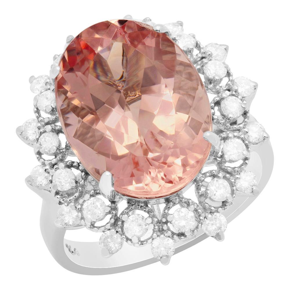 14k White Gold 8.22ct Morganite 0.75ct Diamond Ring