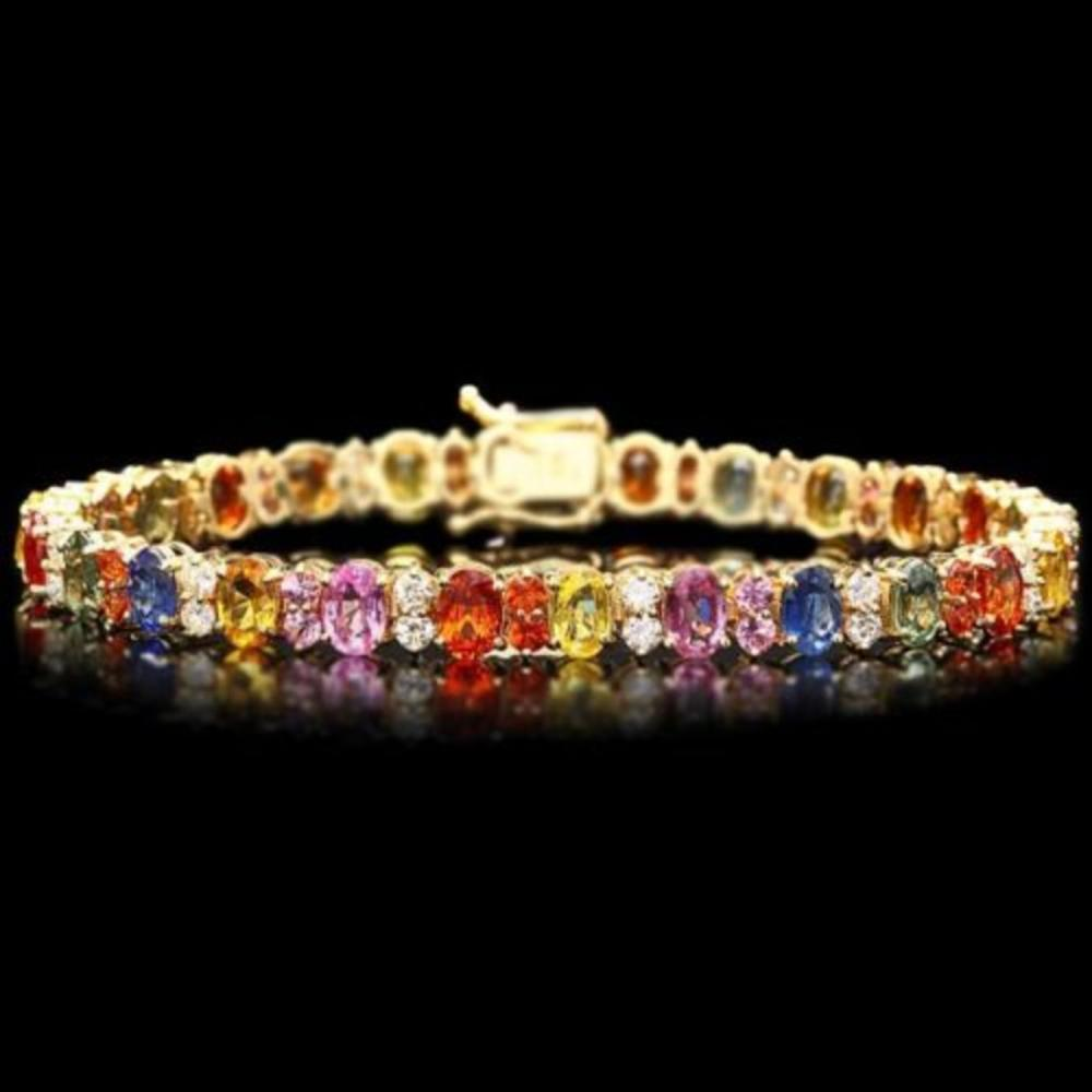 14K Gold 17.81ct Sapphire 1.86ct Diamond Bracelet