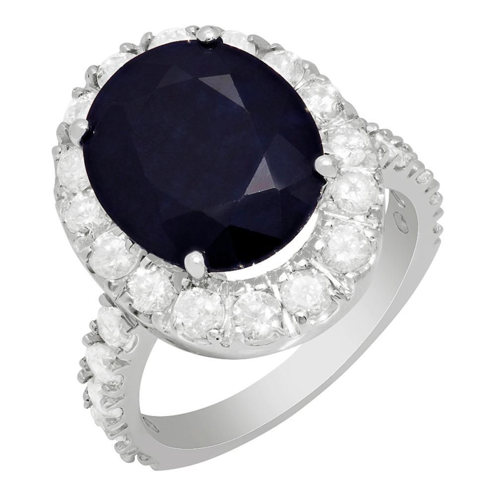 14k White Gold 7.61ct Sapphire 2.09ct Diamond Ring