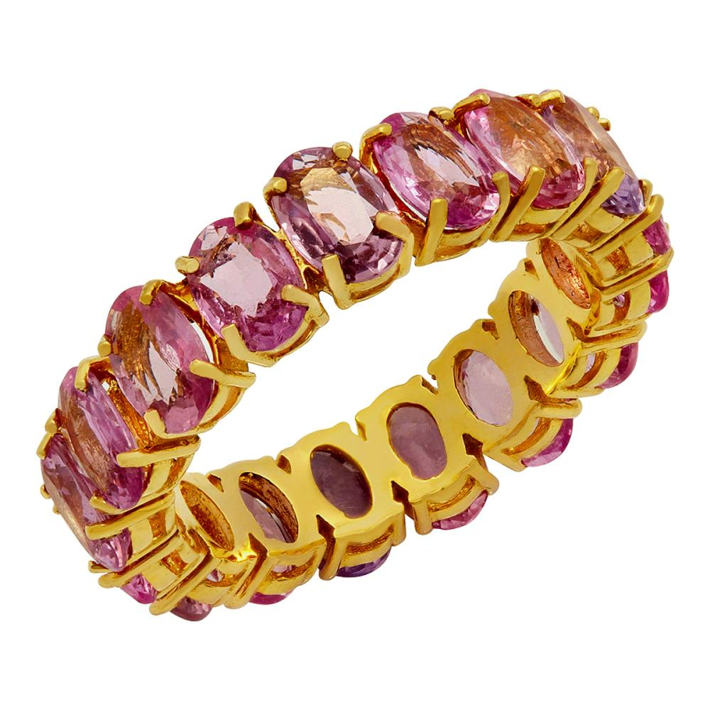 14k Yellow Gold 8.99ct Pink Sapphire Eternity Band