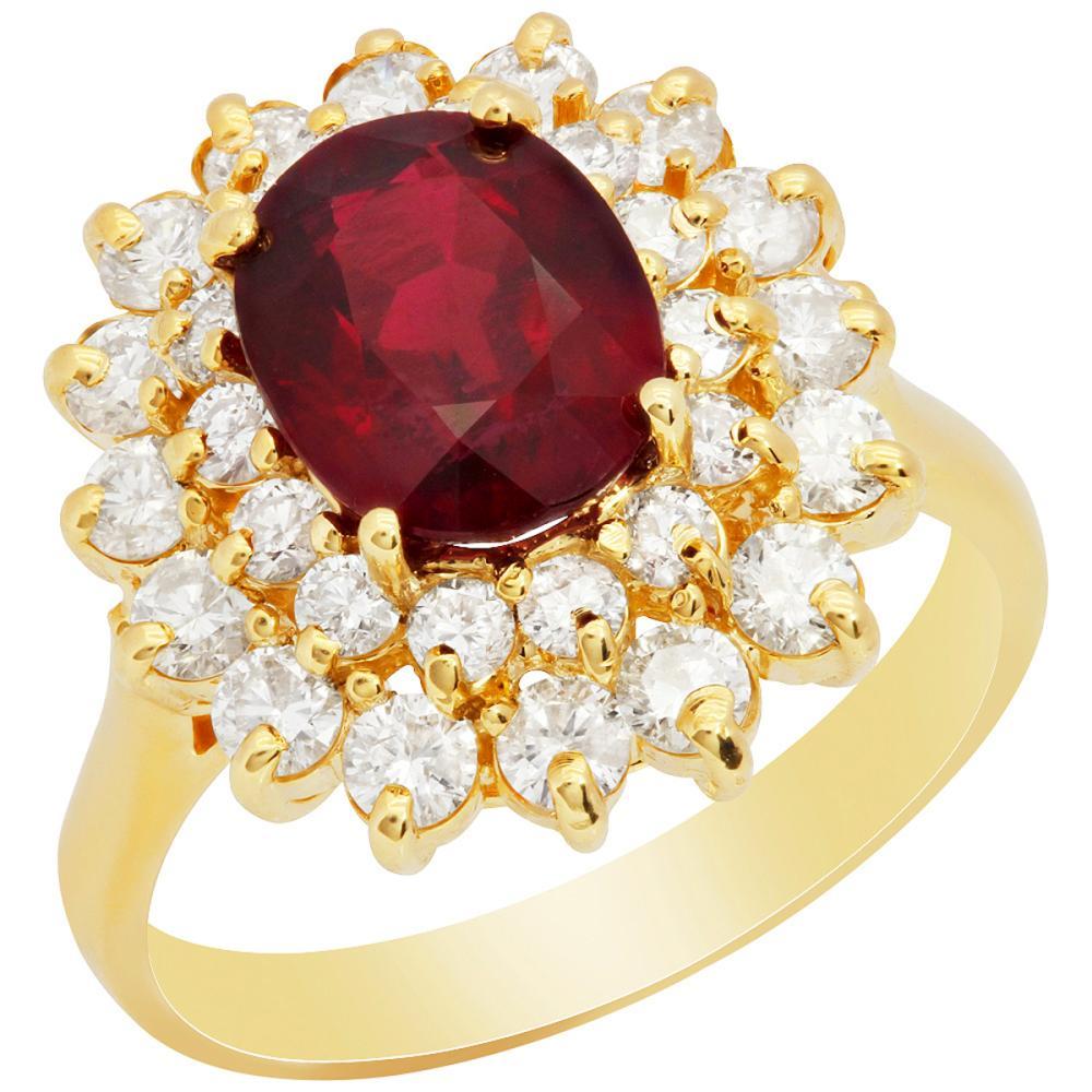 14k Yellow Gold 3.12ct Ruby 1.31ct Diamond Ring