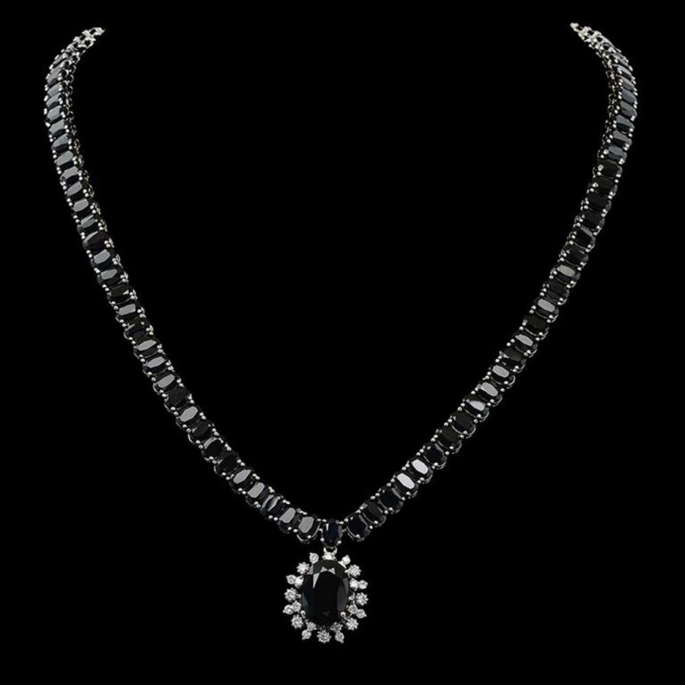 14K Gold 67.77ct Sapphire 0.87ct Diamond Necklace