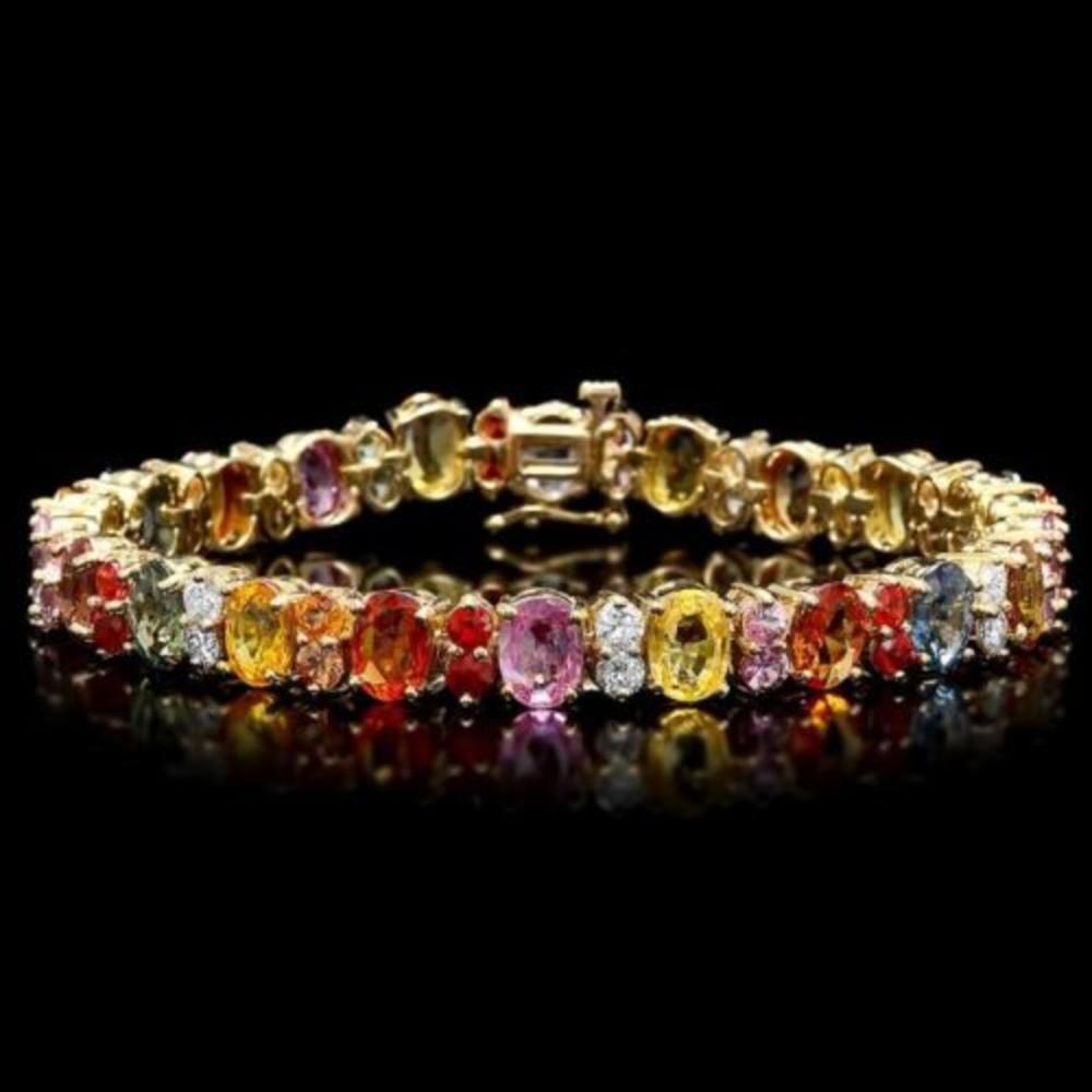 14K Gold Multi Color Sapphire and Diamond Bracelet