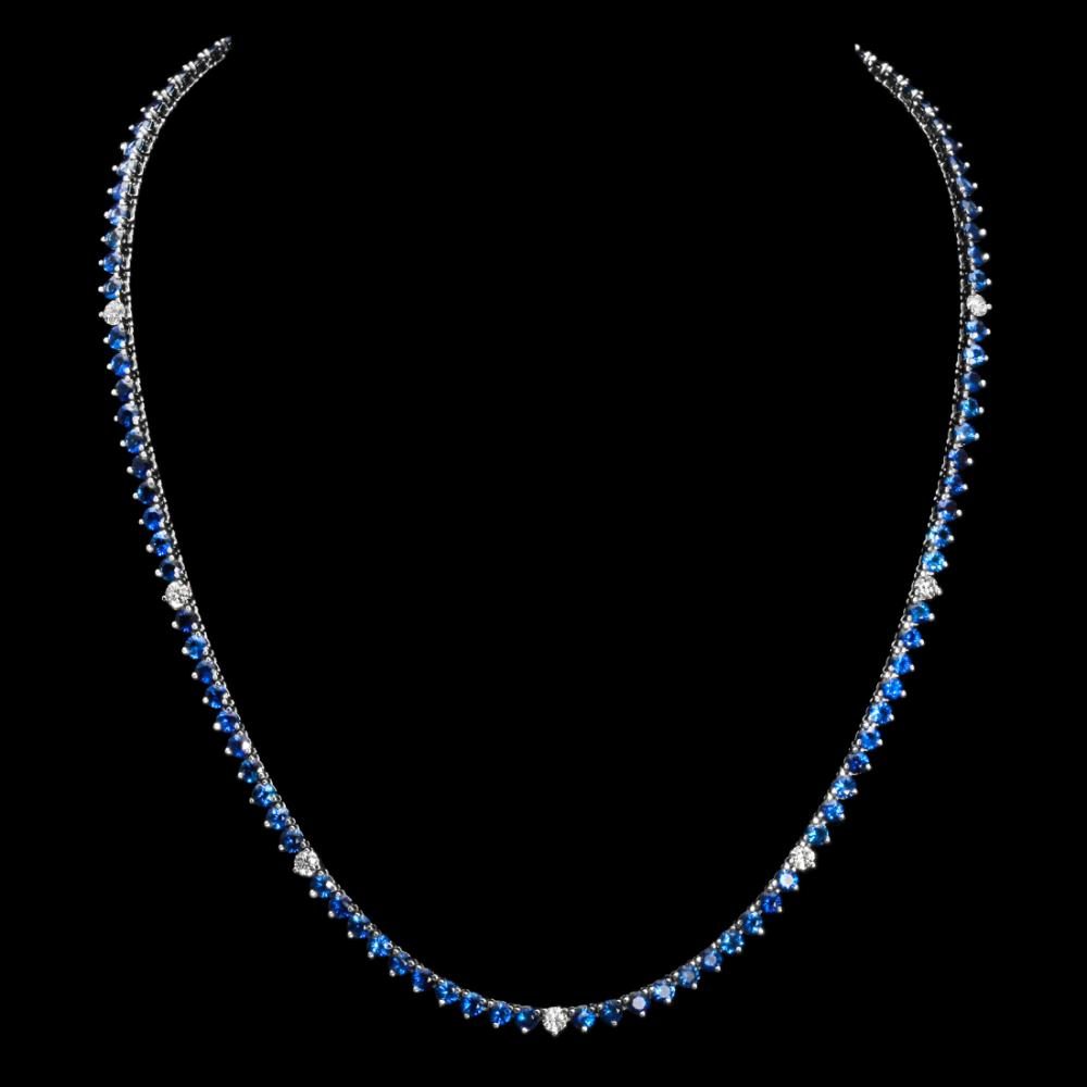 14K White Gold Sapphire & Diamond Necklace