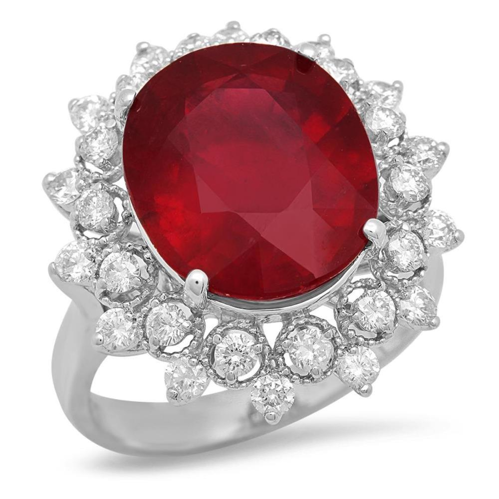 14K White Gold 9.66ct Ruby and 0.98ct Diamond Ring