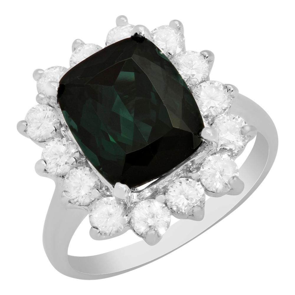 14k White Gold 4.46ct Green Tourmaline 1.27ct Diamond Ring
