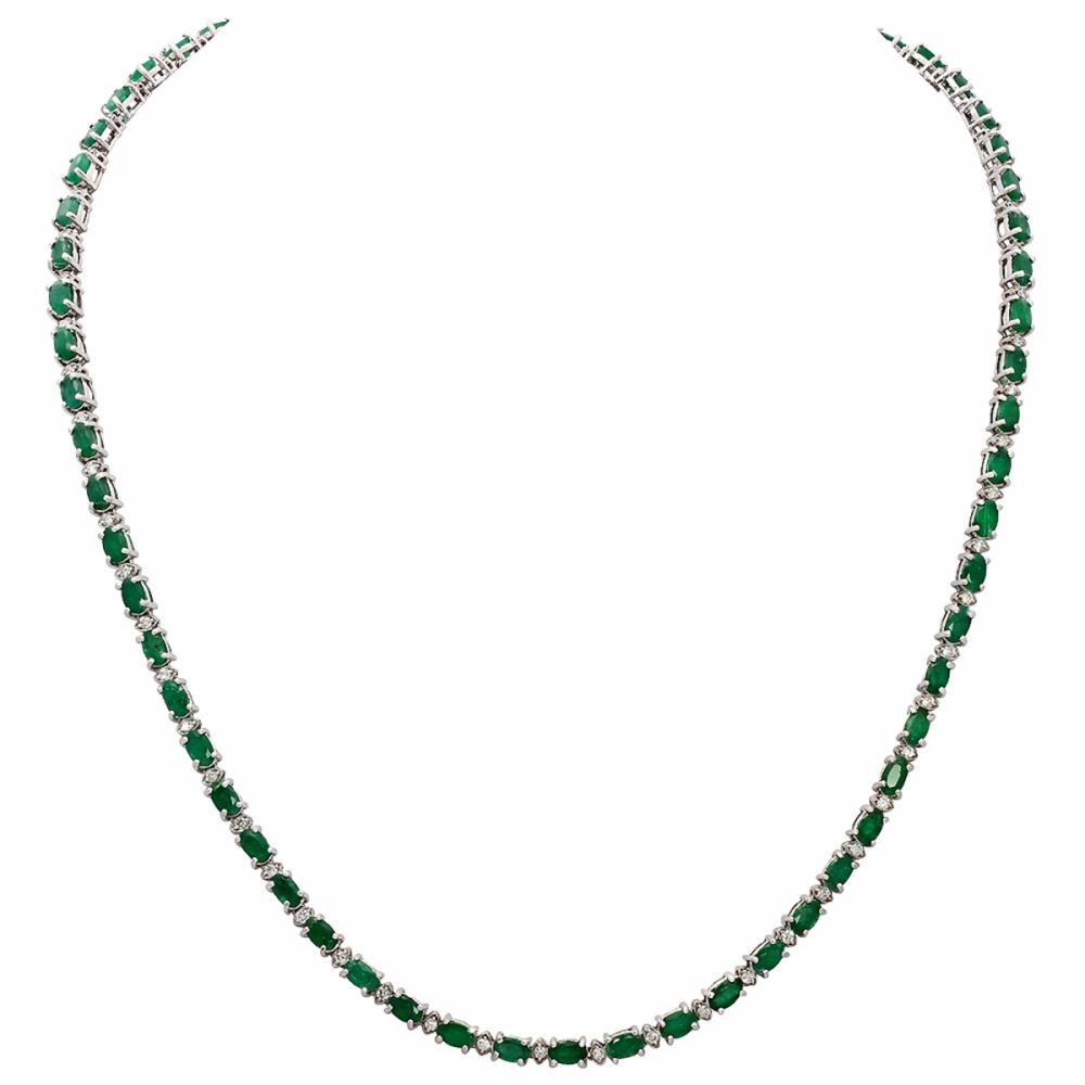 14k White Gold 15.41ct Emerald 1.29ct Diamond Necklace